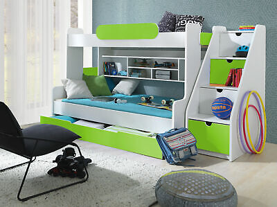 Bunk Bed Children High Sleeper Modern Kids Bedroom 6 Colours Cabin Triple Bed • 869£
