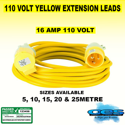 110v Yellow Extension Lead Site Power Lights Tools Hook Up Plug & Socket 5-25m   • 2.20£