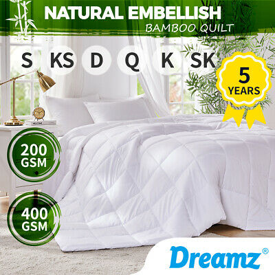 AU56.99 • Buy DreamZ Bamboo Quilt Summer Winter All Season Microfiber Duvet Doona 200/400GSM