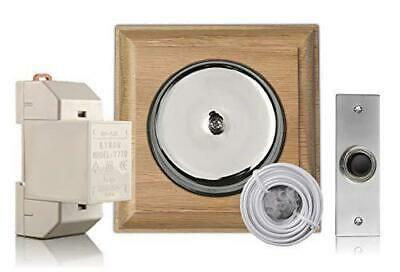 Chrome Door Bell Kit On Honey Oak With Transformer And Bell Push • 50.55£