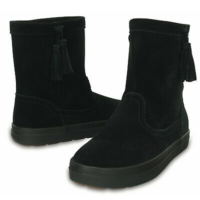 AU54.95 • Buy Crocs LodgePoint Women's Suede Leather Pull On Boots Shoes Ugg - Black
