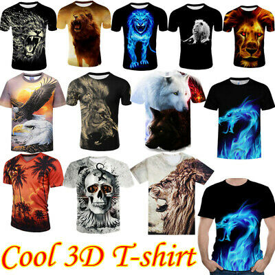 £6.85 • Buy  Fashion Men Funny Lion 3D Print T-Shirt Casual Crew Neck Short Sleeves Tops Tee