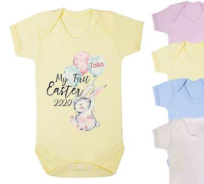 Personalised My First Easter 2021 Baby Vest Romper Baby Gifts Bunny Cute Easter  • 6£
