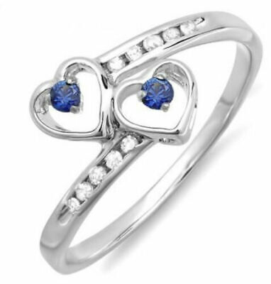 AU1050.50 • Buy 0.51ct ROUND DIAMOND SAPPHIRE 14K SOLID WHITE GOLD COCKTAIL RING SIZE O TO Q