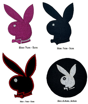 Playboy Bunny Iron On Patch Badge Logo , Pink Bunny Embroidered .black White Red • 1.89£