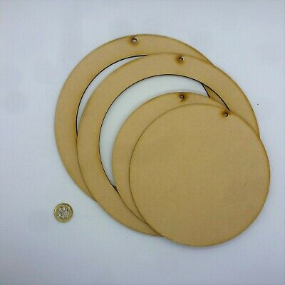 Wreath 2 X CIRCLE Or BLANK RING Plaque Wall Art Board Artist Wooden MDF L21-22 • 2.99£