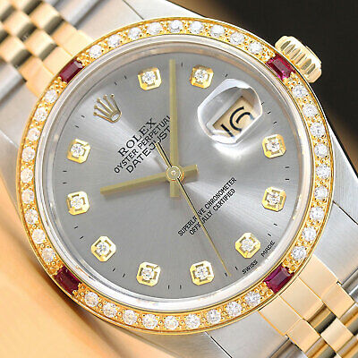 $ CDN8016.46 • Buy Rolex Mens Datejust Gray Diamond Ruby 18k Yellow Gold & Stainless Steel Watch