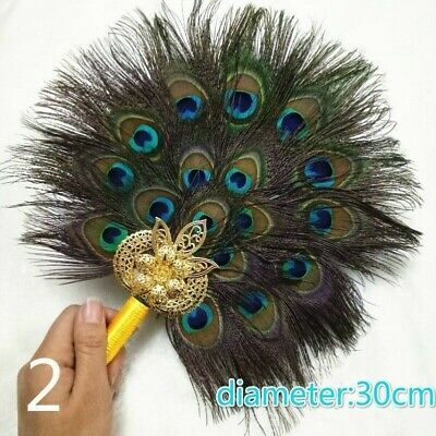 Peacock Marabou Feather Hand Fan Double Side Handmade Vintage Pagan Wicca Gift • 15.78£