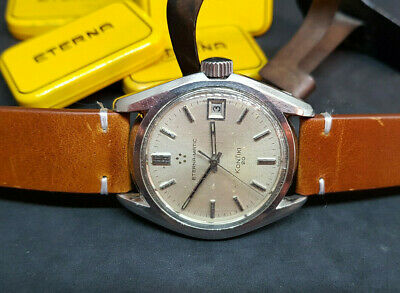 Rare Used Vintage Eterna-matic Kontiki 20 Silver Dial Date Automatic Man's Watch • 550£