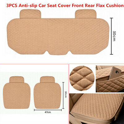 $43.99 • Buy 3X Linen Fabric Car SUV Truck Van Seat Cover Front Rear Flax Cushion Breathable