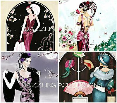 £2.90 • Buy MOONLIGHT ART DECO LADIES Embellishments (8), Card Toppers, Card Making Toppers