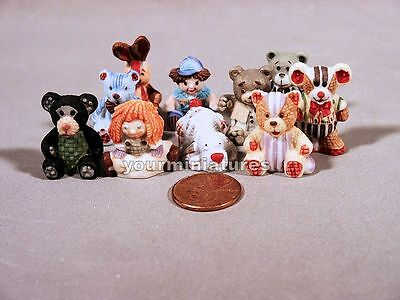 $ CDN34.10 • Buy Miniature French Feve Porcelain Dollhouse Teddy Bears, Dolls, Rabbit, Mouse, Dog