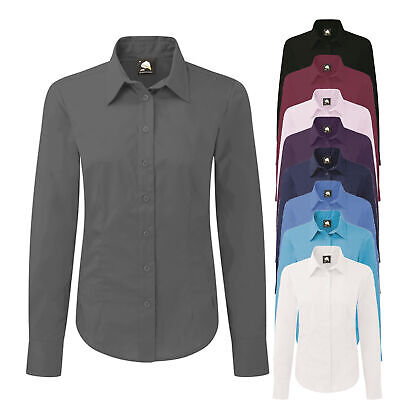 Womens Ladies Plain Long Sleeved Shirt Work Formal Office Business Tailored Fit • 6.99£