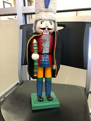 Wooden Nutcracker 20in Royal Guard King Fur Hat Collectible Holiday • 32.05£
