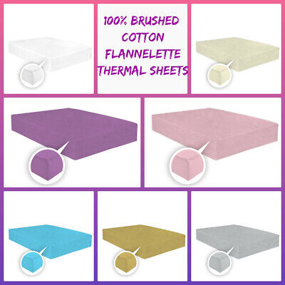100% Brushed Cotton Flannelette Thermal Fitted Sheets Of Depth 25cm-In All Sizes • 9.75£