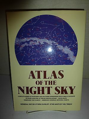 Atlas Of The Night Sky By Storm Dunlop, Star Maps,Wil Tirion,HBDJ,1984 1st E 150 • 22.46£