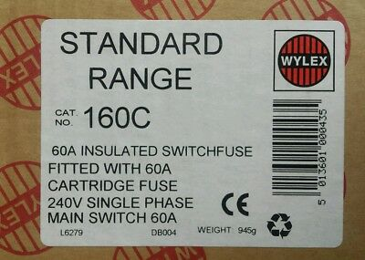 £21.99 • Buy Wylex 160c Single Phase Switch Fuse Insulated Plastic 60amp SPN