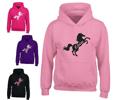 Personalised Glitter Horse Riding Hoodie Girls Boys Pony Hoody Kids Top Jumper • 15.99£