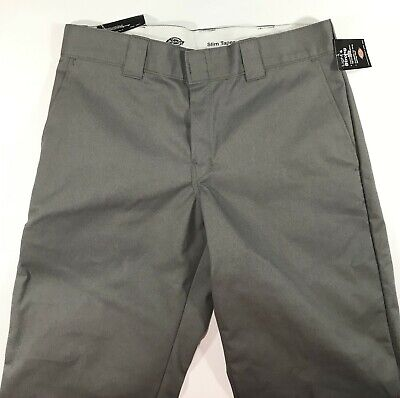 £21.80 • Buy Dickies Twill Work Paint Slim Fit Pant's For Men 34x32 Gray NWT 65%  Polyester