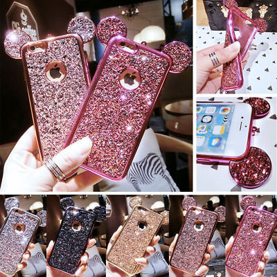 $ CDN9.10 • Buy Luxury Glitter Bling Mickey Mouse Ears Soft Case Cover For IPhone Samsung Galaxy