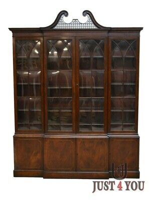 $1595 • Buy Baker Chippendale Mahogany 2 Pc Breakfront China Cabinet (A)