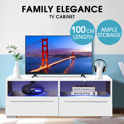 AU146.99 • Buy Levede TV Cabinet Stand Entertainment Unit Lowline Storage White LED Furniture