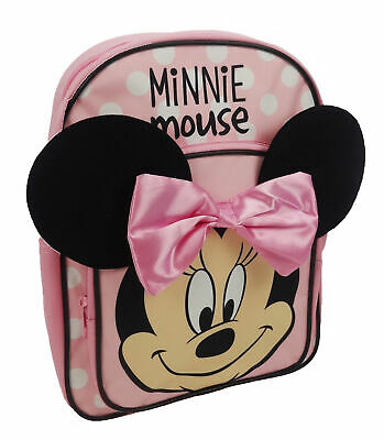 Disney Minnie Mouse Pink And White Spotty Backpack Bow Girls School Bag Rucksack • 10.09£