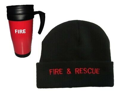 £14.29 • Buy FIRE & RESCUE Black Embroidered Beanie Hat & Thermo Mug Set Fireman Brigade 999