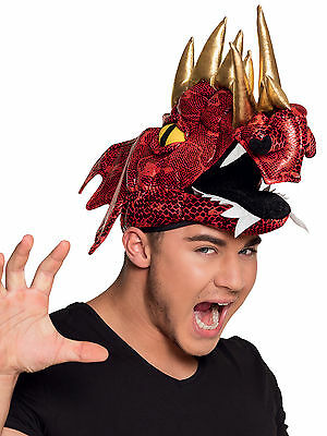 Red Dragon Costume Hat Adult Welsh Medieval Knights Dinosaur Rugby Fancy Dress • 11.99£
