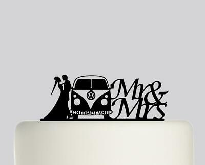 £17.99 • Buy Mr And Mrs Bride Groom Campervan Acrylic Wedding Cake Topper Decoration.733