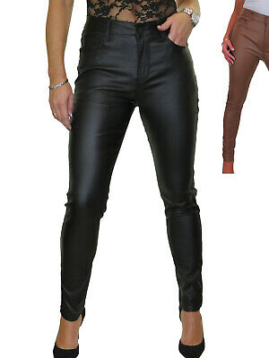 Womens High Waist Stretch Leather Look Jeans Wet Look 10-20 • 19.99£