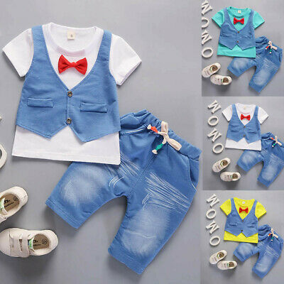 Infant Kids Baby Boys Outfits Short Sleeve T-shirt+Pants Gentleman Clothes Suit • 8.19£
