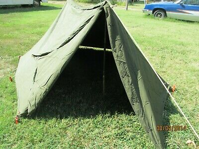 $130.85 • Buy Military Shelter Half 1/2 Pup Tent Vietnam Style Army With Poles Stakes Complete