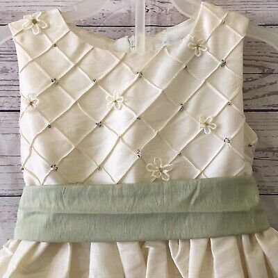 $19.99 • Buy Sugar Plum Girls 4T Dress Sage Green Petticoat Cream Easter Party Flower Dressy