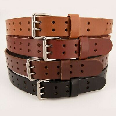 $39.99 • Buy Men's Double Prong Full Grain Heavy-Duty Leather Belt 2 Hole - USA Made By Amish