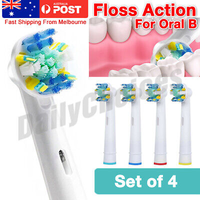 AU5.85 • Buy Oral B Compatible Electric Toothbrush Replacement Brush Heads X4 - FLOSS ACTION