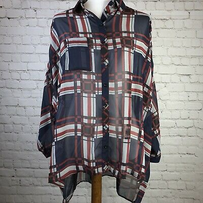 $19.95 • Buy NWT Sans Souci Sheer Boyfriend Blouse Plaid Button Down Top Womens Size Medium