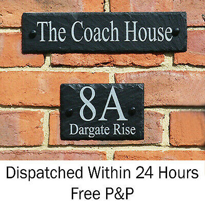 £6.99 • Buy Rustic Slate House Door Gate Number Sign Plaque ANY NAME AND NUMBER