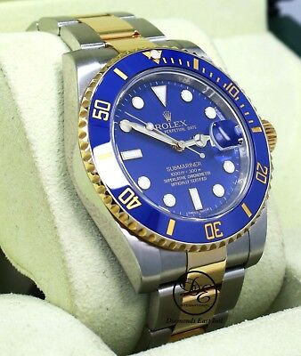 $ CDN18203.88 • Buy ROLEX Submariner 116613 18K Yellow Gold/Steel Blue Ceramic Watch B/PAPERS *MINT*