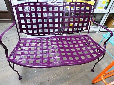 $175 • Buy Vintage Wrought Iron Outdoor Metal Bench Purple