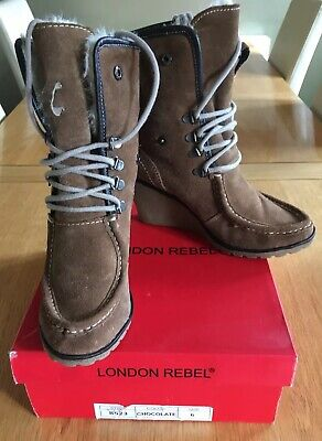 London Rebel Brown Suede Ankle Boots Size 6 • 30£