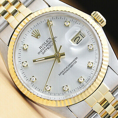 $ CDN7517.95 • Buy Rolex Mens Datejust Factory Diamond 18k Yellow Gold Stainless Steel Watch Silver