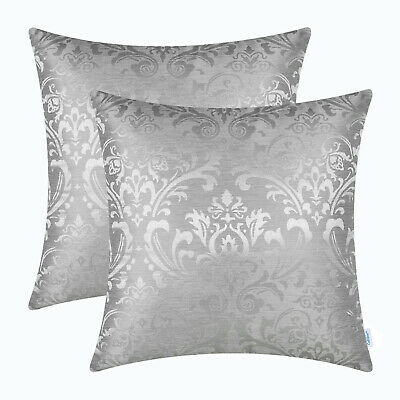 $ CDN23.49 • Buy 2Pcs Silver Gray Cushion Covers Pillows Shell Damask Florals Car Decor 45 X 45cm