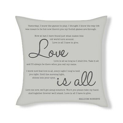 Malcom Roberts Love Is All Song Lyrics Cushion Cover Gift (UFCU045) • 12.99£