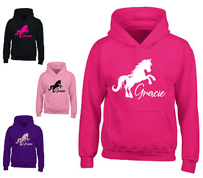 Girls Personalised Horse Hoodie Kids Riding School Childrens Pony Hoody Gift • 15.99£