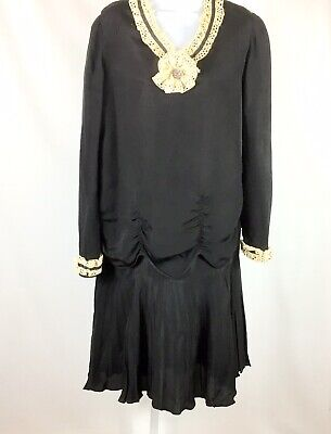 $74.97 • Buy Vintage 1920s? Womens Dress Flapper French Pleated Skirt Size Small? Black Ivory