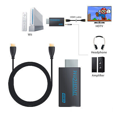 Wii Input To HDMI 720P 1080P HD Audio Output Converter Adapter Cable 3.5mm Jack • 7.65£