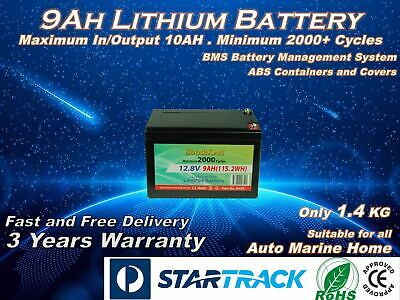 AU88 • Buy Solarking 9AH Lithium Battery 12V 2000+Cycles Lightweight Recharge Free Delivery