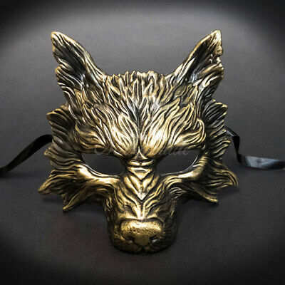 Wolf Animal Masquerade Mask, Men's Masquerade Mask, Halloween Gold Mask • 18.80£