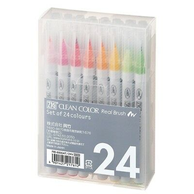 Kuretake ZIG Clean Color Real Brush Calligraphy Pen 24VRB-6000AT / 24V Xxx4014 • 28.79£